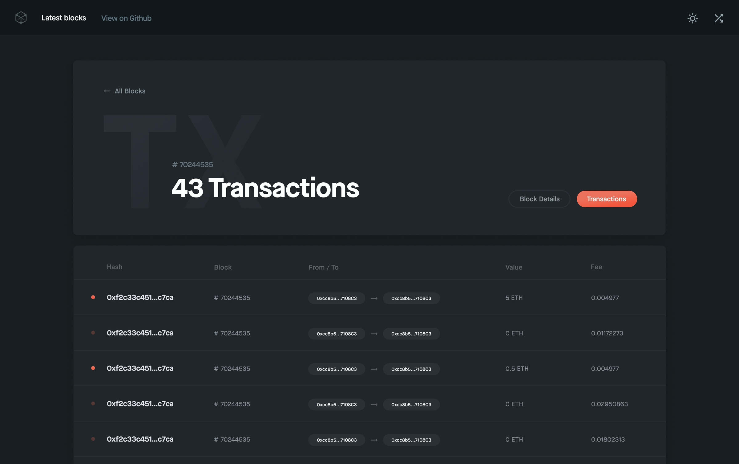 Blocks application screen showing a list of transactions associated with a block